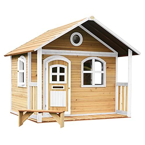 AXI Spielhaus Milan aus FSC Holz | Outdoor Kinderspielhaus mit Veranda für den Garten in Braun & Weiß | Gartenhaus für Kinder mit Fenstern