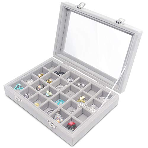 Clear Lid 24 Grid Small Jewelry Box ~ Showcase Display Storage For Rings Earrings Bracelet ~ Secure & Travel Friendly (Grey)