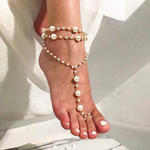 Yean Layered Pearl Fußkettchen Böhmische Perlen Knöchel Armband Beach Fashion Fußschmuck Kette für Frauen und Mädchen