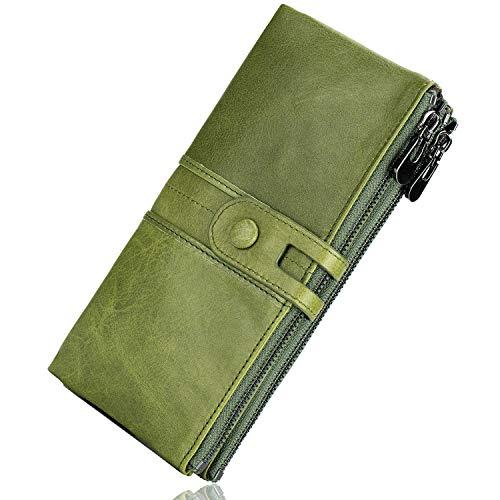 ROULENS - Portafogli da donna in vera pelle, multifunzione, sottile, con cerniera, grande capacità porta carte con RFID (verde)