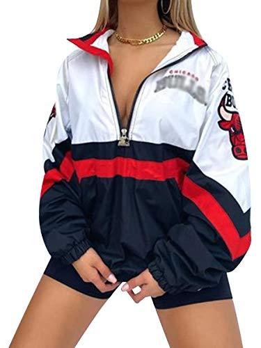 Yesgirl Bomberjacke Damen Sweatjacke Ladies College Sweat Jacket Reißverschluss Für Frauen Oversized Patchwork Jacke Vintage Druck Jacken Baseball Mantel A Weiß S