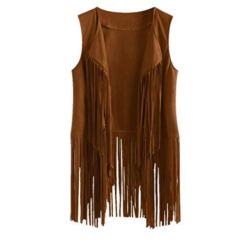 Women Faux Suede Leather Cowboy Style Vest Sleeveless Tassels Cardigan Waistcoat(Khaki,Small)