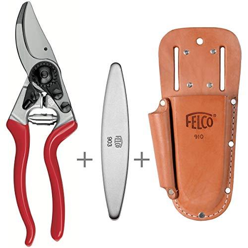 Felco 8 + Lederträger 910+ und Schleifstein 903 Hochleistungs- Baum- und Gartenschere