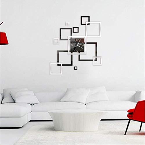 Hbbhbb DIY Acrylique Miroir Horloge Murale Simple Décoration De La Maison Muet Photo Cadre Wall Sticker Horloge À Quartz 80X60Cm