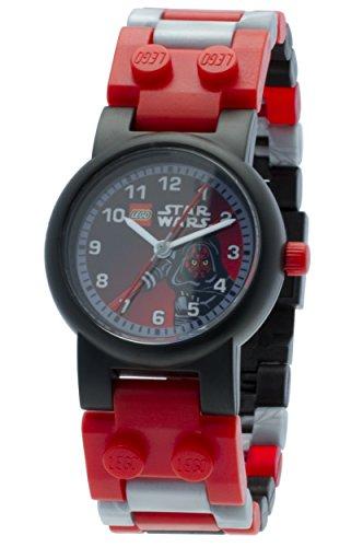 LEGO Star Wars Darth Maul Kinder-Armbanduhr mit Minifigur und Gliederarmband zum Zusammenbauen, schwarz/rot, Kunststoff, Gehäusedurchmesser 25 mm, analoge Quarzuhr, Junge/Mädchen, offiziell