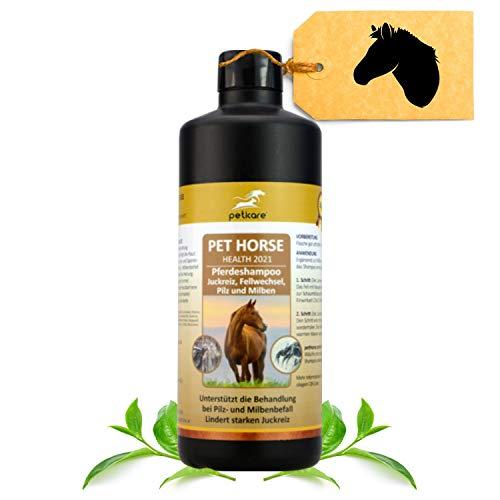 Peticare Pferde-Shampoo gegen Juckreiz, Milben, Pilzbefall - Spezielle Pflege entfernt schonend & leicht Milbeneier, Larven & Pilzsporen von der Haut, 100% natürlich - petHorse Health 2021