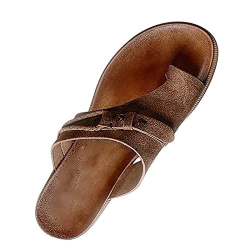 CHILD FENCE Pantoffeln Damen Sandalen Slippers Schuhe Big Toe Valgus Open Toe Flache Pantoffeln Sommer Outdoor Damen Strand Schuhe rutschfeste Badelatschen,Braun,42
