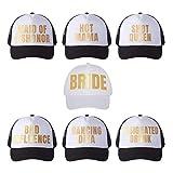 Pop Fizz Designs Bachelorette Trucker Hats I 7 Pack I 1 Bride Hat 6 Bride Tribe Hats   Bachelorette Party Favors Black