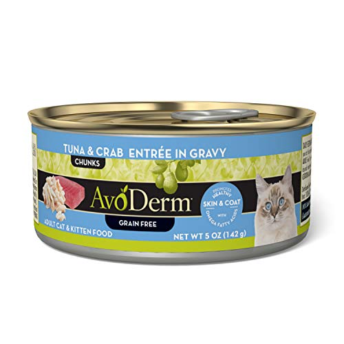 AvoDerm Natural Grain Free Wet Cat Food, Tuna & Crab in Gravy, 5 oz Can (Pack of 24)