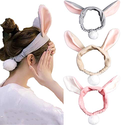 JONKY Cute Rabbit Ears Spa Headbands Pink Grey Wide Hair Bands for Washing Face Makeup Elastic Bands Bath Non Slip Adjustable Hair Wraps for Women and Girls (Pack of 3)