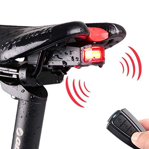 Babitotto USB wiederaufladbares Fahrrad-Rücklicht Smart Bike Rücklicht Wireless Bike Alarmanlage mit Fernbedienung für Mountainbikes Rennräder