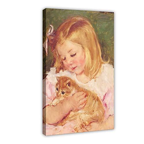 Pintura al óleo Sara Holding A Cat 1908 Póster de lienzo para pared de decoración de la sala de estar dormitorio decoración 12 × 18 pulgadas (30 × 45 cm) Marco-estilo1