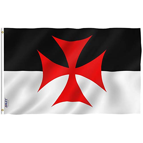 Anley Fly Breeze 3x5 Foot Knights Templar Battle Flag - Vivid Color and Fade Proof - Canvas Header and Double Stitched - Roman Catholic Church Flags Polyester with Brass Grommets 3 X 5 Ft