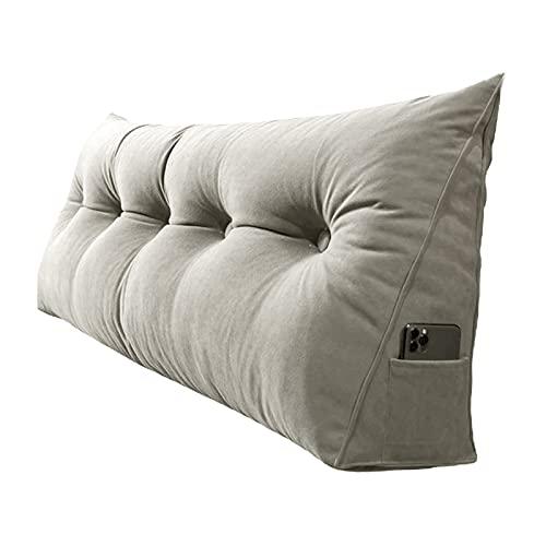 QZENENE Cojín triangular para respaldo de cuña de 60,9 x 20,8 x 50,8 cm, cojín triangular para lectura, para sofá cama, cojín lumbar, color gris