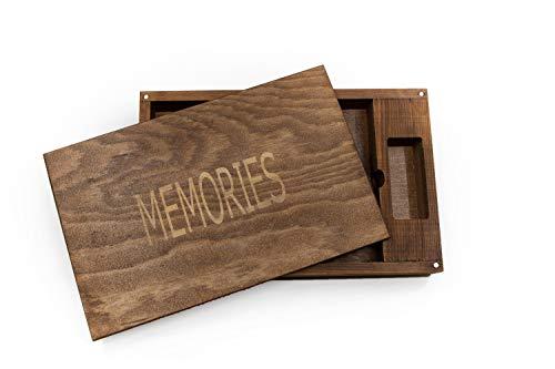 LION Handgemachte Vintage Holzkiste Fotokiste Box aus dunkelbraunem Holz. Hochzeiten & Fotografen, als Geschenkbox. In 26x16x4,5cm (Single Box, Dunkelbraun, mit Logo)