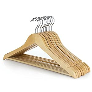 "HANGERWORLD Pack of 10 Wooden Coat Clothes Hangers with Non Slip Trouser Bar-45cm (18""), Natural from Hangerworld"