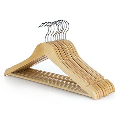 Hangerworld Pack of 10 Wooden Coat Clothes Hangers with Non Slip Trouser...