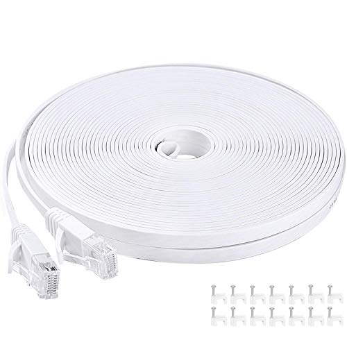 Cable Ethernet de 10 m / 9,8 m Cat6 blanco cable de red plana con clips de cable – Ikerall RJ45 Cable de Internet plano de alta velocidad 10 metros (compatible con Cat5e Cat5)