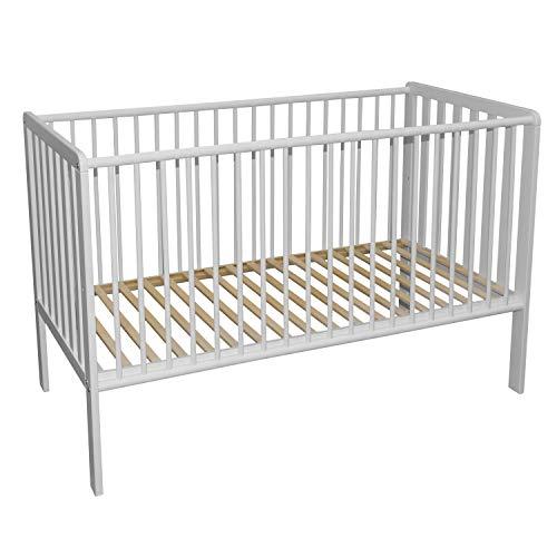Bubema Babybett Nils 2.0, Buche massiv in zwei Farben, aus nachhaltiger Produktion Größe 60x120 cm, Farbe Weiß lackiert