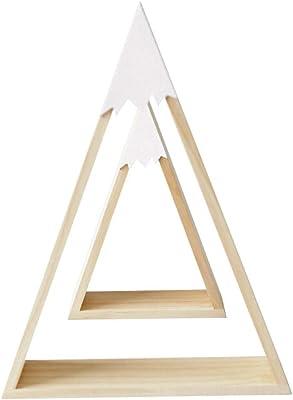 skwff estantería de Pared en Escalera Viento nórdico Madera Nieve montaña triángulo casa Estante habitación Infantil decoración del hogar Blanco: Amazon.es: Hogar