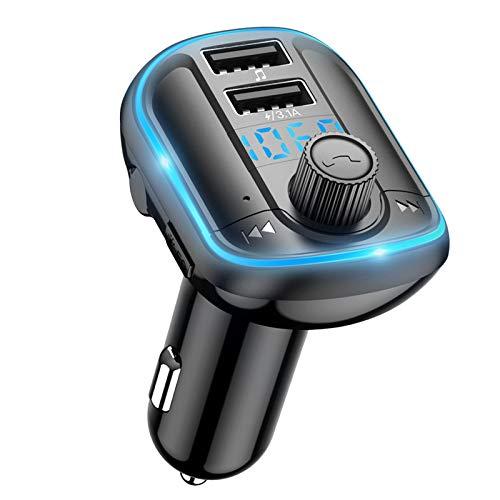 Trasmettitore Bluetooth per Auto, Wodgreat Trasmettitore FM Adattatori Vivavoce Car Kit, Trasmettitore Radio Bluetooth Lettore Musica Auto, LED Controluce, 2 Porte USB, Supporto Scheda TF U Disk