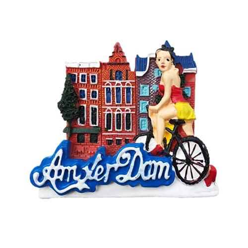 Imán de nevera 3D Amsterdam Países Bajos para viaje, recuerdo, colección de artesanía de resina