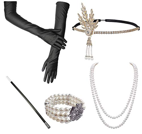 Gran traje de Gatsby Accesorios de la década de 1920 Conjunto de soporte de plástico Perlas Negro Largo Guantes Pulseras Pendientes Titular de cigarrillo (Ruby)