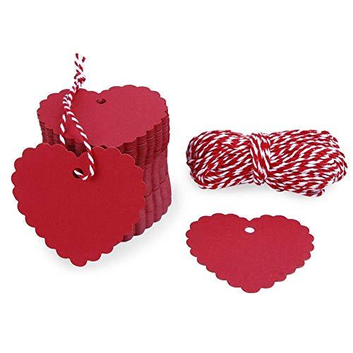 FANTESI 200 Piezas Corazón Rojo Etiquetas, Etiquetas de Papel Kraft Etiquetas de Equipaje Etiquetas de Regalo Etiquetas de Papel de Boda con 20m Cuerda para Navidad Boda