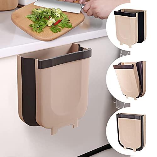WapoRich Cubos de Basura Plegable Colgando para la Cocina - Papelera plegable para colgar en la pared, 10 l, para puerta de armario o armario Baño Oficina - Cubos de basura para la cocina