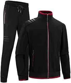 INVACHI Men's Casual 2 Pieces Contrast Cord Full Zip Sports Sets Jacket & Pants Active Fitness Tracksuit Set
