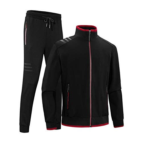 INVACHI Men's Casual 2 Pieces Contrast Cord Full Zip Sports Sets Jacket & Pants Active Fitness Tracksuit Set Black