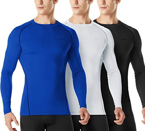 TSLA Camiseta de compresión de manga larga para hombre, de Mud21, 3 unidades, color negro, blanco y azul, XXL