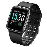 CHEREEKI Fitness Tracker, Fitness Watch with Heart Rate Monitor Waterproof IP68 Smartwatch, Stop Watch, Step Counter, Calorie Counter Sleep Monitor Activity Tracker for Men Women Kids (Black)