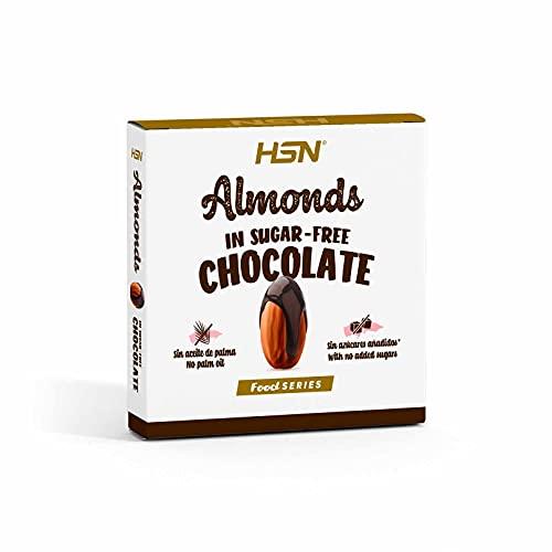 Almendras con Chocolate Negro Sin Azúcar de HSN | Con Almendras Tostadas Enteras | Snack Saludable Vegetariano, Sin Gluten, Sin Aceite de Palma, Sin Grasa Trans, Sin Azúcares Añadidos | 70g