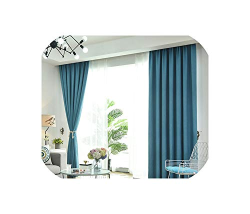Faux Linen Solid Color Blackout Curtains for Living Room Modern Curtain for The Bedroom Drapes Blinds,Middle Blue,W300xL250cm,Rod Pocket