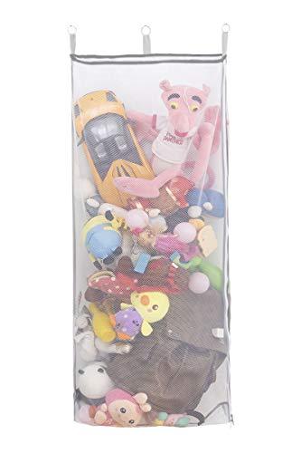 ALYER Cesto de malla para colgar en la puerta, tamaño extragrande, bolsa de almacenamiento plegable para juguetes, ropa de cama (gris)