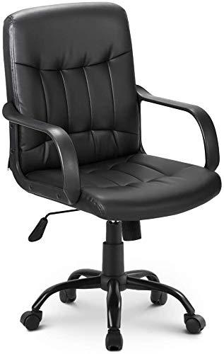 Bürostuhl, hohe Rückenlehne, Netzstoff, drehbar, für Zuhause, Büro, Arbeitstühle, verstellbare Höhe, Chefsessel, Netzsitz, Schwarz (Kunstleder)