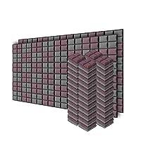 新しい96ピース 200 x 200 x 50 mm 半球グリッド 吸音材 防音 吸音材質ポリウレタン SD1040 (ブルゴーニュとグレー)