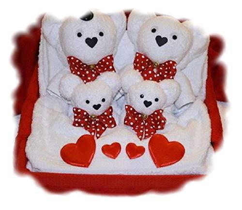 Hochzeitspaar mit Zwillingen im Bett Handtuchfigur in Geschenkverpackung Hochzeitsüberraschung handgemacht