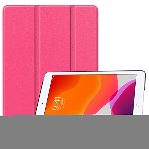 LESLEY LM For iPad 10.2 Custer Texture Horizontal Flip Smart PU Leather Case with Sleep/Wake-up Function & Three-folding Holder 2021 NEW MODEL (Color : Rose Red)