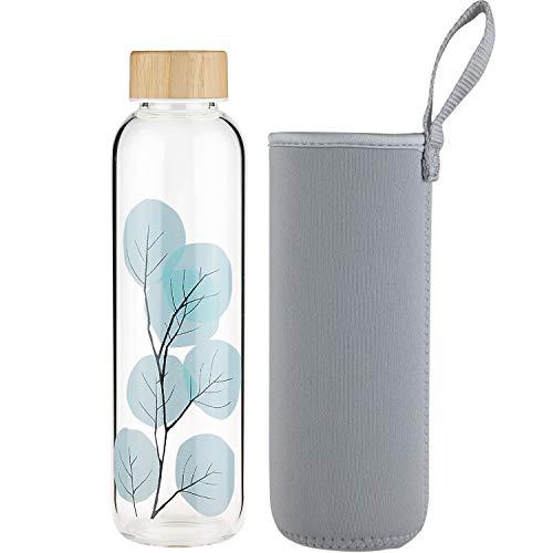 FCSDETAIL Sport Bottiglia di Acqua in Vetro, Borraccia in Vetro Borosilicato con Custodia in Neoprene con Tappo in bambù 420ml / 660ml / 1000ml