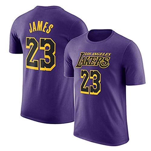 Maglia da Basket Uomo Los Angeles Lakers Lebron James Swingman Maglia Manica Corta Apparel for Youth Felpa S-XXXL 4 Colour Purple-XXXL
