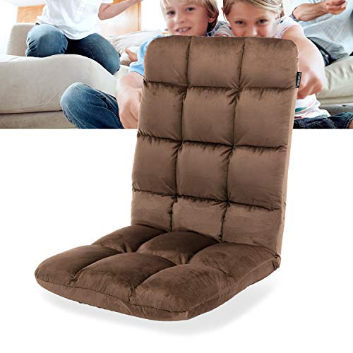 Altrobene Floor Gaming Chair, Lazy Folding Lounger Chair, High Back, 5-Position Adjustable Recliner Rocker for Game Recreation Room, Brown