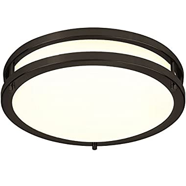 LB72120 12-Inch LED Flush Mount Ceiling Light, Oil Rubbed Bronze, 3000K Warm White, 1050 Lumens, Dimmable