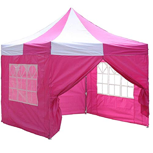 10'x10' Pop up 4 Wall Canopy Party Tent Gazebo EZ Pink White - E Model By DELTA Canopies