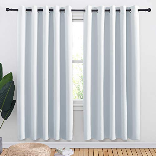 NICETOWN Room Darkening Curtain Panels for Bedroom -Easy-Care Solid Thermal Insulated Grommet Room Darkening Draperies/Drapes (Greyish White, 2 Panels, 70 by 72)
