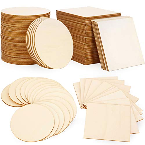 Wood Slices 100 Pcs of Unfinished Wood Chips 4x4 inch Blank Wood Chips for Handicrafts Home Decoration Wooden Coasters and DIY Crafts 50 Pcs Wood Squares and 50 Pcs Wood Circles