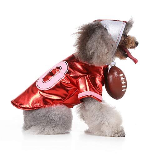 BaojunHT Frohe Weihnachten Haustierkleidung Fußball Rugby Cheerleading Cosplay Winter Warme Mantel Kleid mit Phantasie Hut für Hund Katze (rot,L)