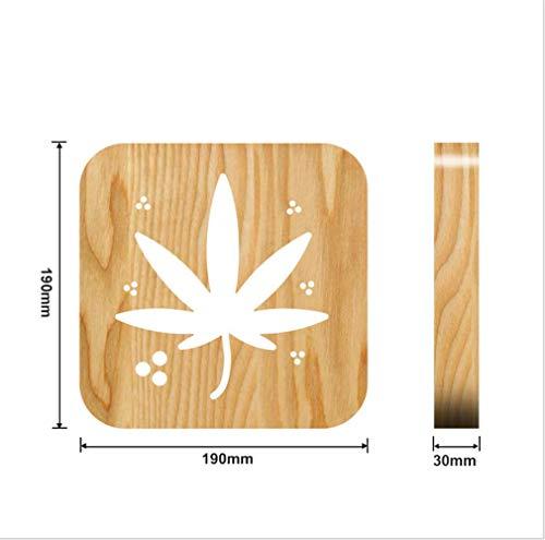 Nachtlampje van massief hout Cannabis Leaf Nachtlampje om te snijden en op maat te knippen LED houten lamp