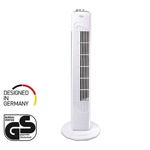 Turmventilator mit Timer | Säulenventilator Weiss | CoolBreeze 7400TV - Leise 45 Watt | Ventilator 3 Stufen | Turm Fan Kühler Windmaschine | für Schlafzimmer, Büro, Balkon | von SUNTEC